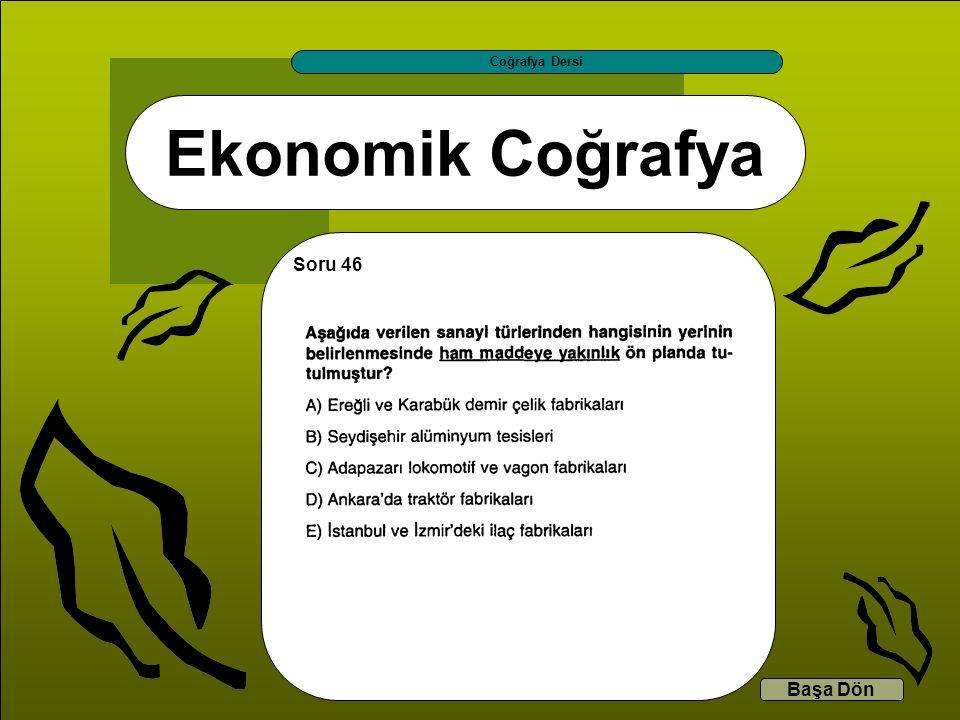 Ekonomik Coğrafya Coğrafya Dersi Başa Dön Soru 46