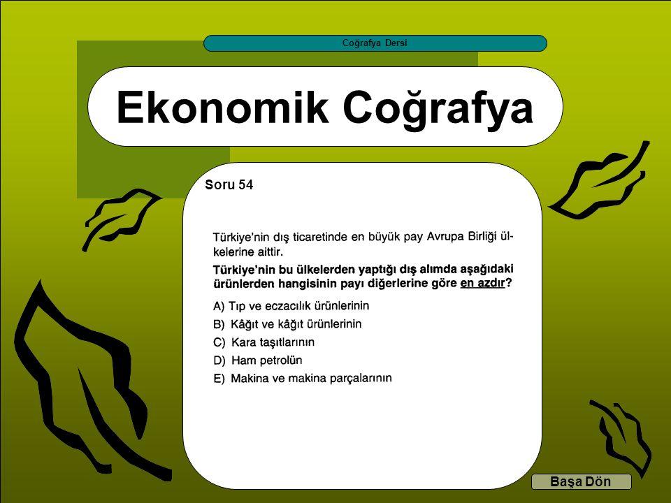 Ekonomik Coğrafya Coğrafya Dersi Başa Dön Soru 54