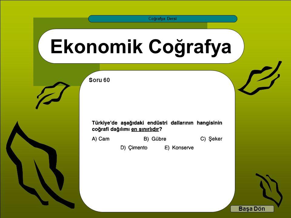 Ekonomik Coğrafya Coğrafya Dersi Başa Dön Soru 60