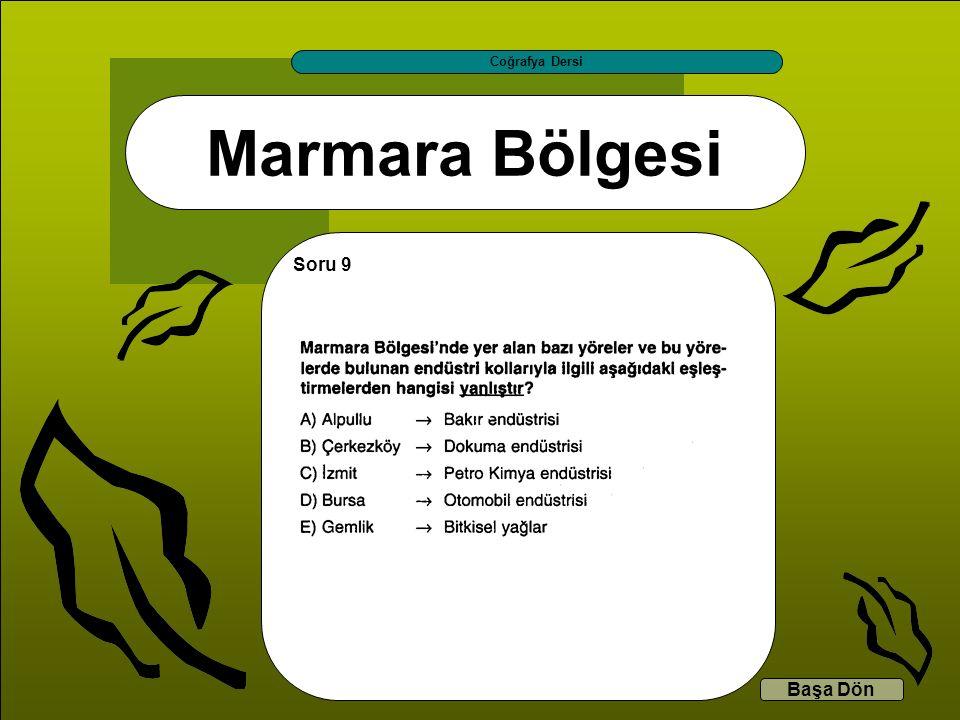 Marmara Bölgesi Coğrafya Dersi Başa Dön Soru 9