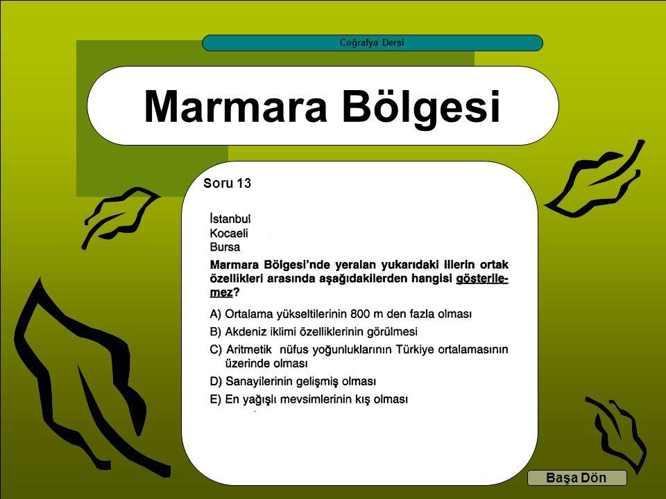 Marmara Bölgesi Coğrafya Dersi Başa Dön Soru 13