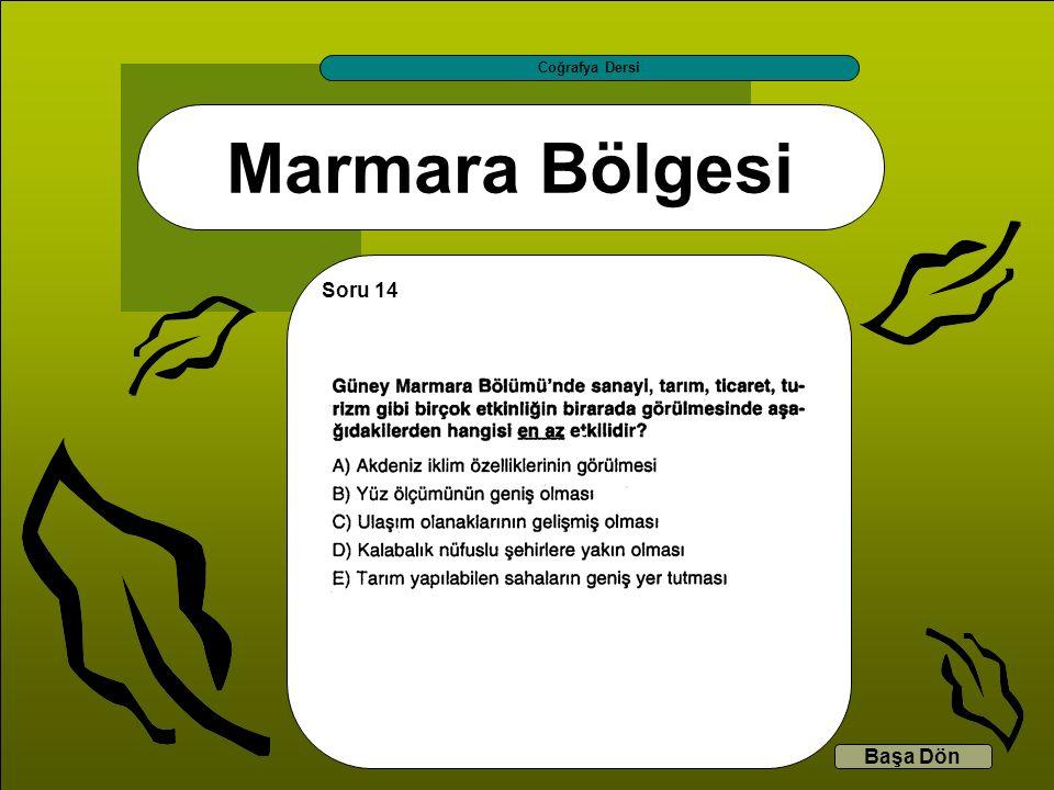 Marmara Bölgesi Coğrafya Dersi Başa Dön Soru 14