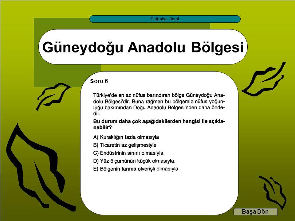 Güneydoğu Anadolu Bölgesi Coğrafya Dersi Başa Dön Soru 6