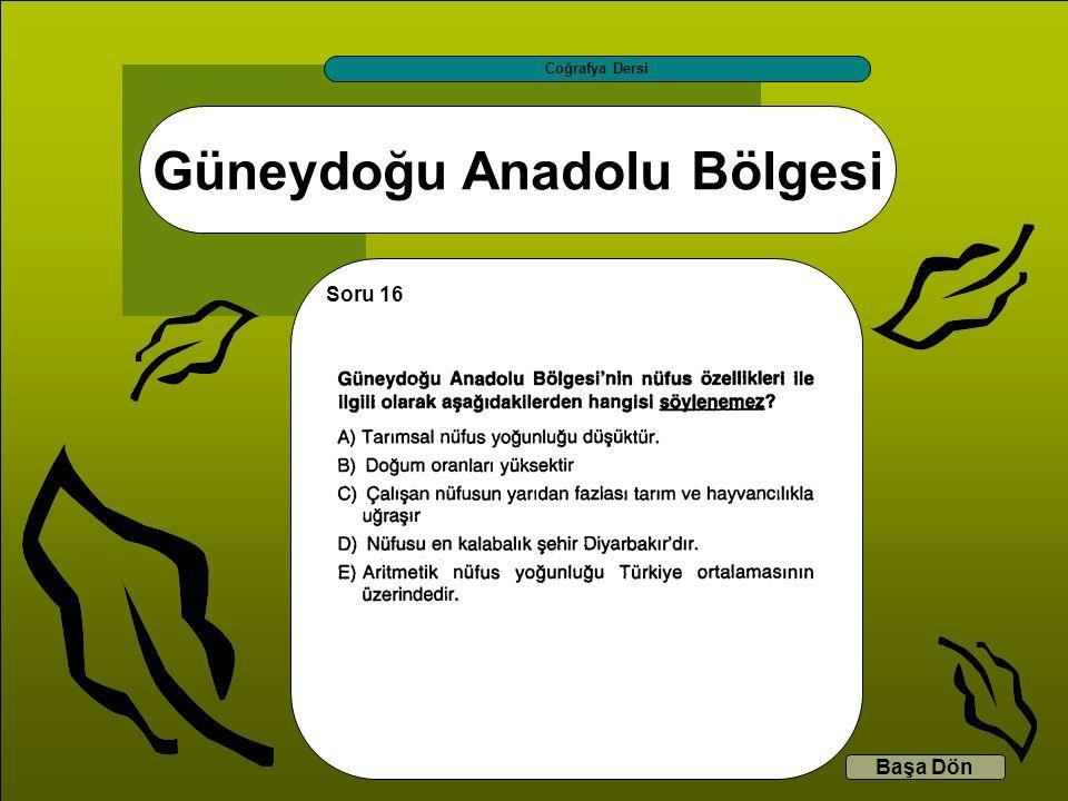 Güneydoğu Anadolu Bölgesi Coğrafya Dersi Başa Dön Soru 16