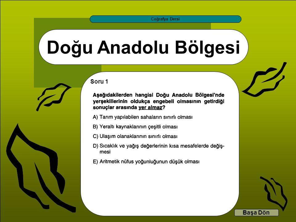 Doğu Anadolu Bölgesi Coğrafya Dersi Başa Dön Soru 1