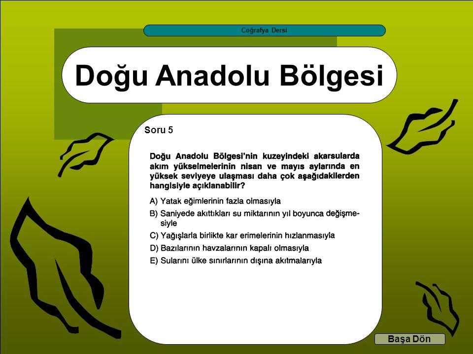 Doğu Anadolu Bölgesi Coğrafya Dersi Başa Dön Soru 5