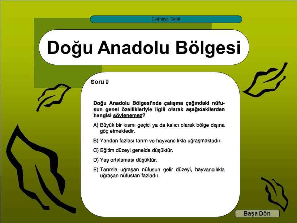 Doğu Anadolu Bölgesi Coğrafya Dersi Başa Dön Soru 9