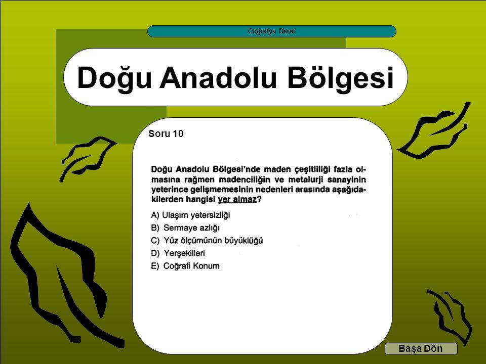 Doğu Anadolu Bölgesi Coğrafya Dersi Başa Dön Soru 10