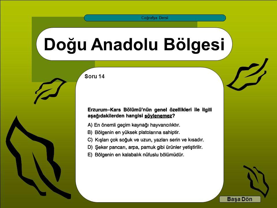 Doğu Anadolu Bölgesi Coğrafya Dersi Başa Dön Soru 14