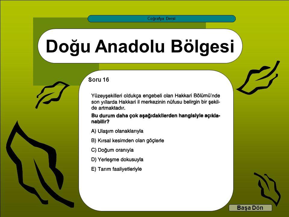 Doğu Anadolu Bölgesi Coğrafya Dersi Başa Dön Soru 16