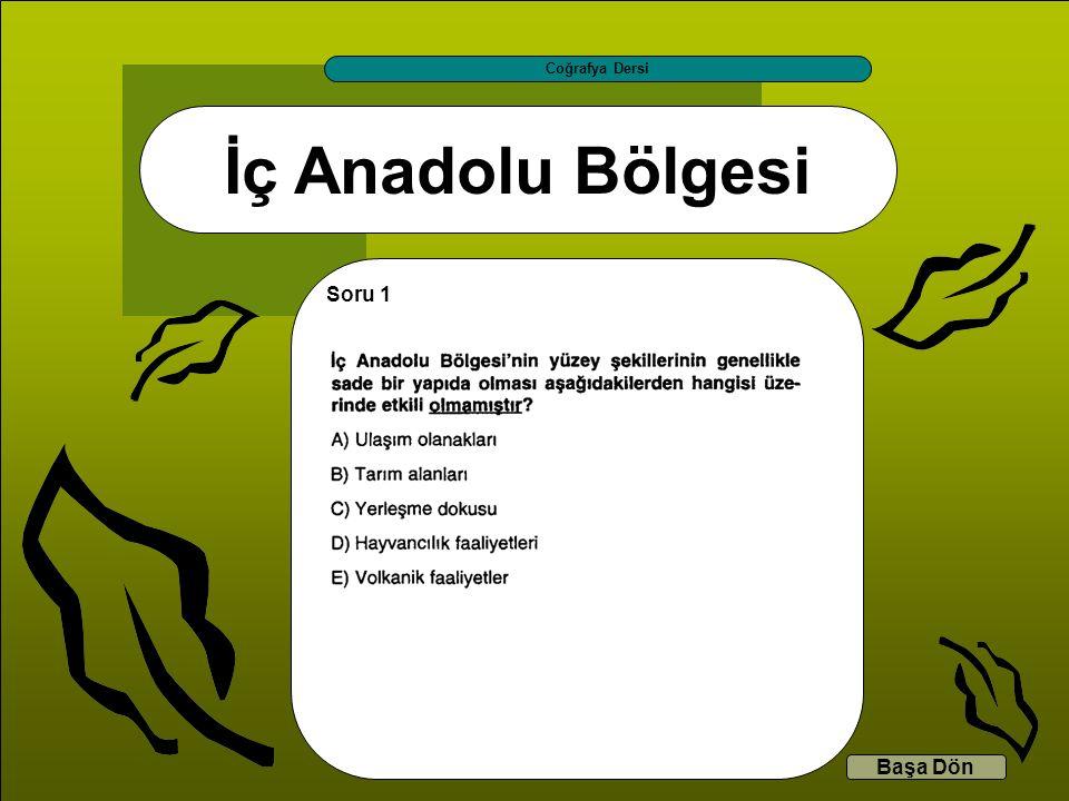 İç Anadolu Bölgesi Coğrafya Dersi Başa Dön Soru 1