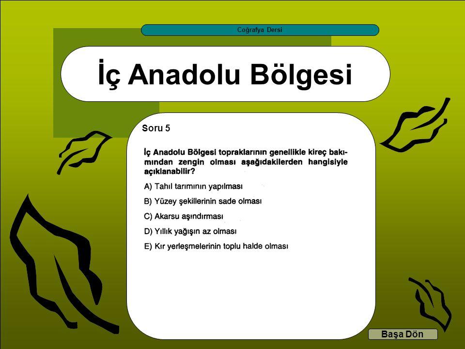 İç Anadolu Bölgesi Coğrafya Dersi Başa Dön Soru 5