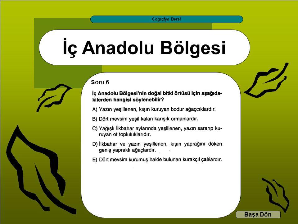 İç Anadolu Bölgesi Coğrafya Dersi Başa Dön Soru 6
