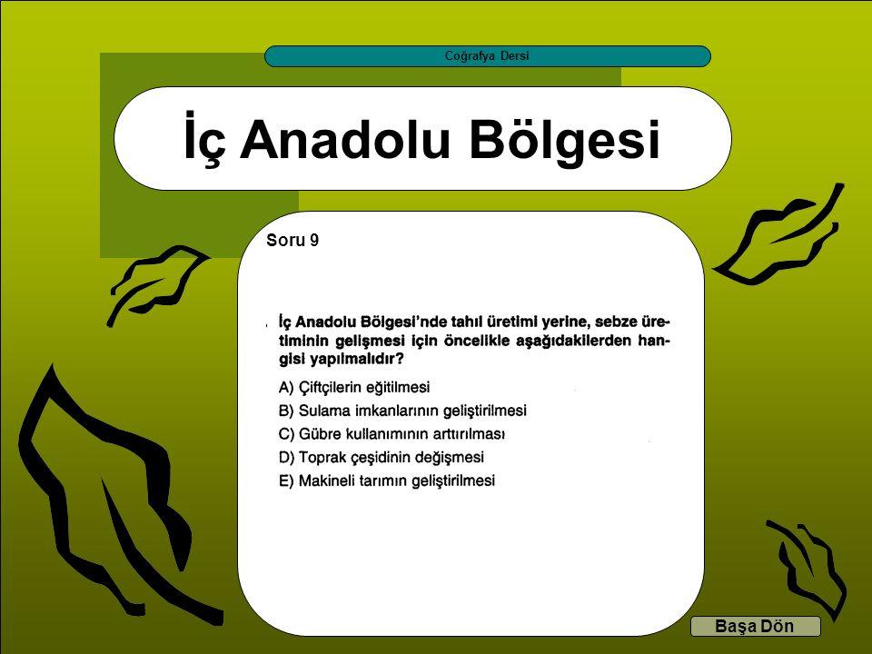 İç Anadolu Bölgesi Coğrafya Dersi Başa Dön Soru 9