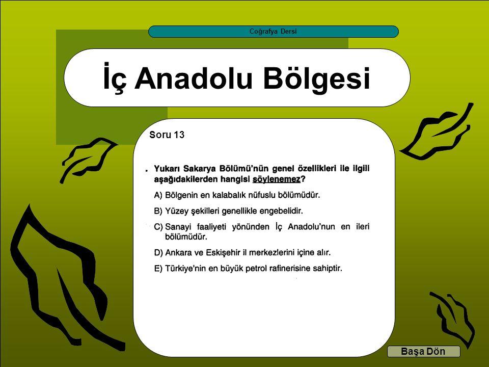 İç Anadolu Bölgesi Coğrafya Dersi Başa Dön Soru 13