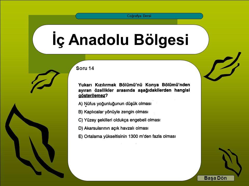 İç Anadolu Bölgesi Coğrafya Dersi Başa Dön Soru 14