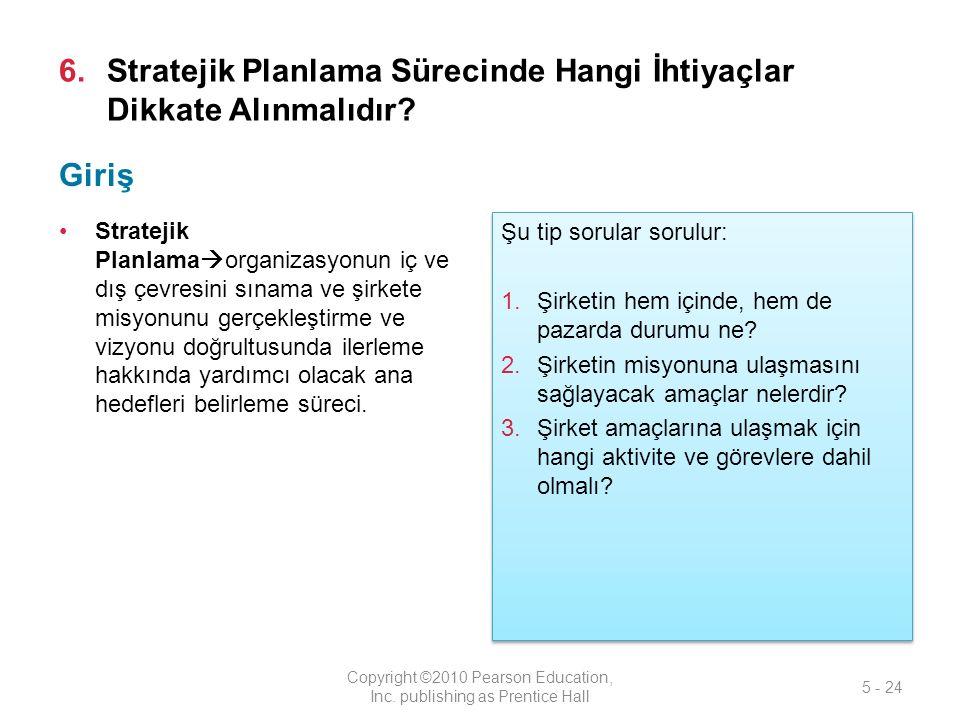 6.Stratejik Planlama Sürecinde Hangi İhtiyaçlar Dikkate Alınmalıdır.