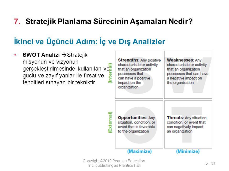 7.Stratejik Planlama Sürecinin Aşamaları Nedir.Copyright ©2010 Pearson Education, Inc.