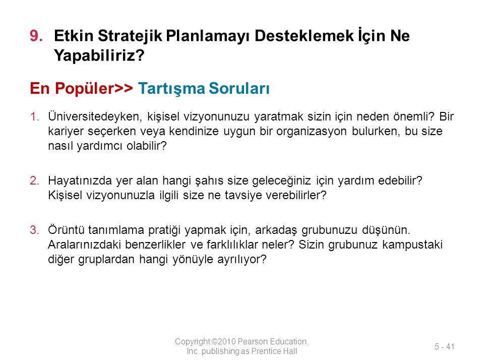 9.Etkin Stratejik Planlamayı Desteklemek İçin Ne Yapabiliriz.