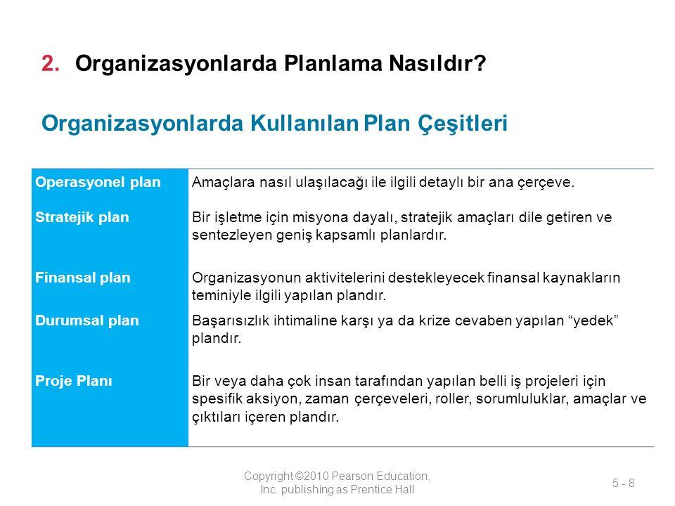 2.Organizasyonlarda Planlama Nasıldır.Copyright ©2010 Pearson Education, Inc.