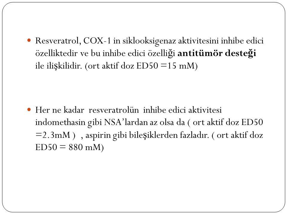 Resveratrol, COX-1 in siklooksigenaz aktivitesini inhibe edici özelliktedir ve bu inhibe edici özelli ğ i antitümör deste ğ i ile ili ş kilidir. (ort