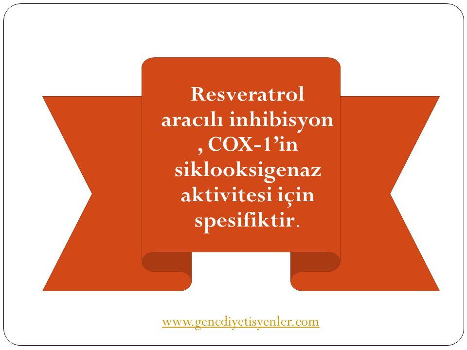 Resveratrol aracılı inhibisyon, COX-1'in siklooksigenaz aktivitesi için spesifiktir. www.gencdiyetisyenler.com