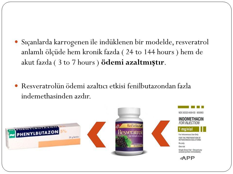 Sıçanlarda karrogenen ile indüklenen bir modelde, resveratrol anlamlı ölçüde hem kronik fazda ( 24 to 144 hours ) hem de akut fazda ( 3 to 7 hours ) ö