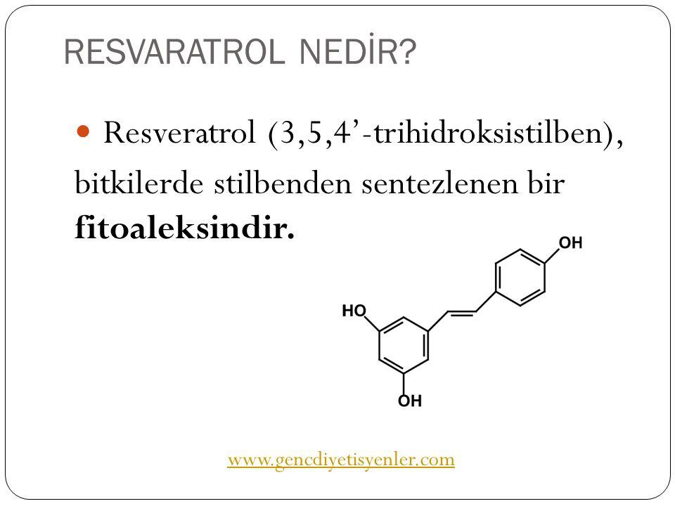 RESVARATROL NEDİR? Resveratrol (3,5,4'-trihidroksistilben), bitkilerde stilbenden sentezlenen bir fitoaleksindir. www.gencdiyetisyenler.com