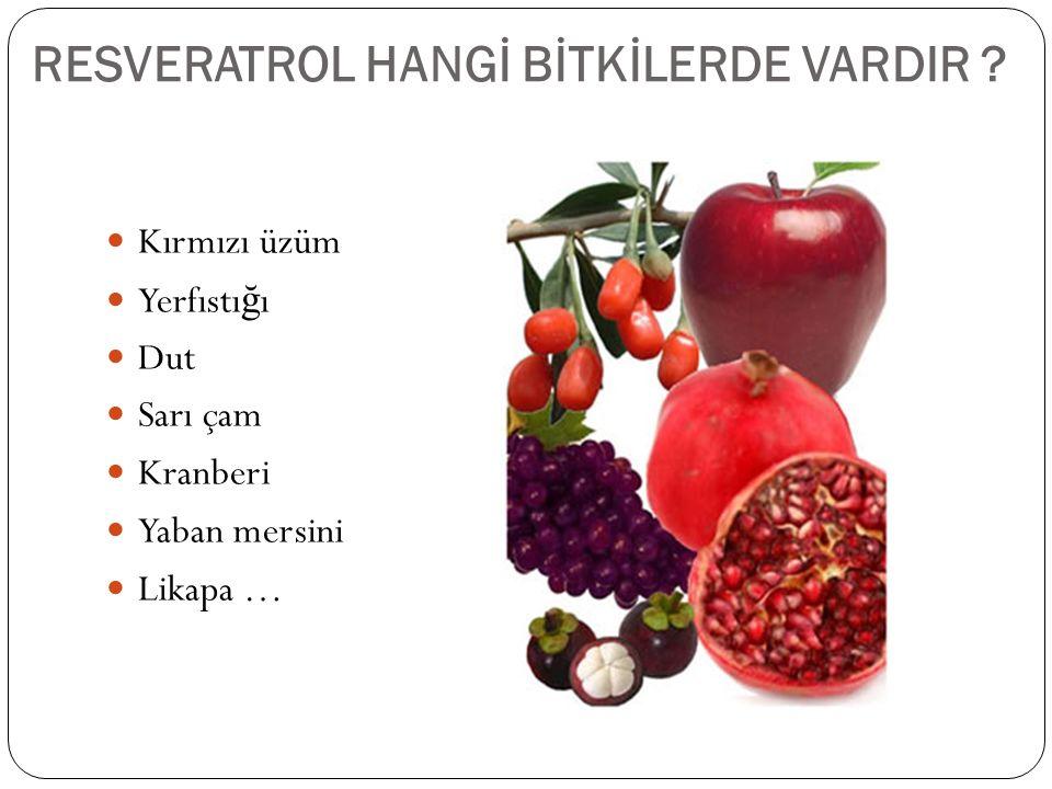 Üzümde resveratrol 1976'da yaprak epidermislerinde ve üzüm zarında tanımlanmı ş tır.