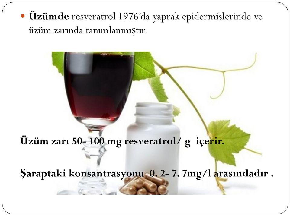 Üzümde resveratrol 1976'da yaprak epidermislerinde ve üzüm zarında tanımlanmı ş tır. Üzüm zarı 50- 100 mg resveratrol/ g içerir. Ş araptaki konsantras