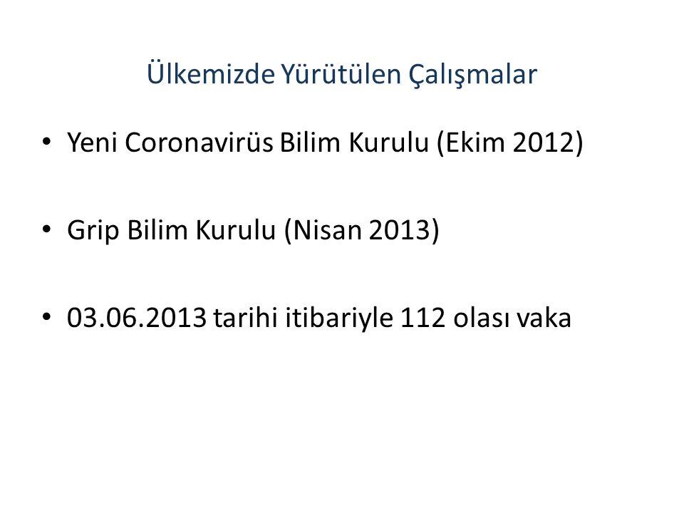 Ülkemizde Yürütülen Çalışmalar Yeni Coronavirüs Bilim Kurulu (Ekim 2012) Grip Bilim Kurulu (Nisan 2013) 03.06.2013 tarihi itibariyle 112 olası vaka