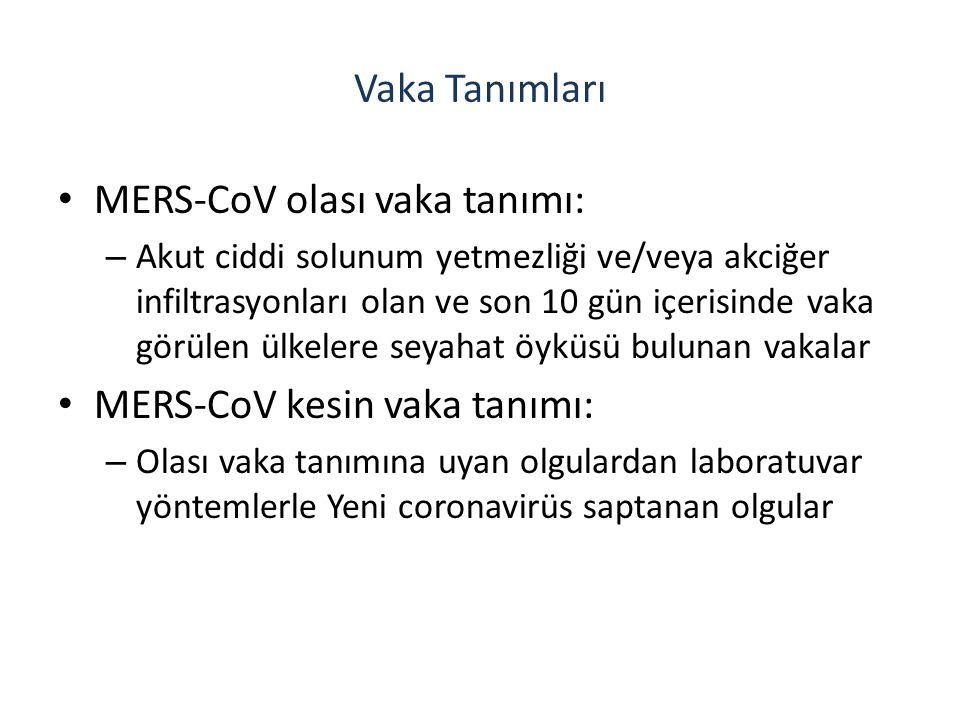 Vaka Tanımları MERS-CoV olası vaka tanımı: – Akut ciddi solunum yetmezliği ve/veya akciğer infiltrasyonları olan ve son 10 gün içerisinde vaka görülen