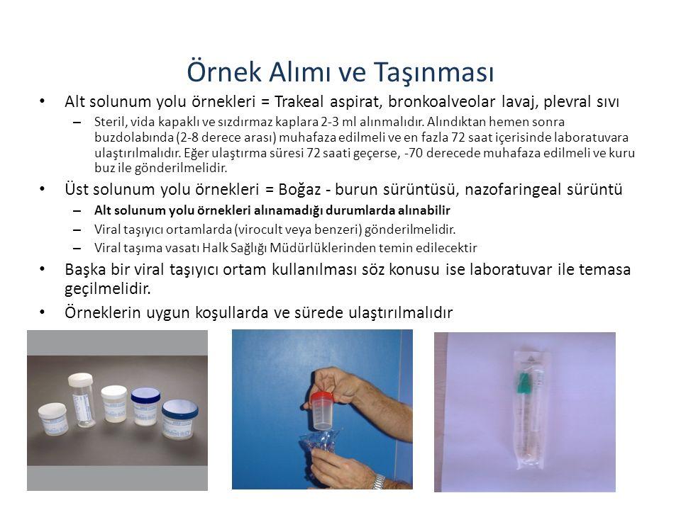 Örnek Alımı ve Taşınması Alt solunum yolu örnekleri = Trakeal aspirat, bronkoalveolar lavaj, plevral sıvı – Steril, vida kapaklı ve sızdırmaz kaplara