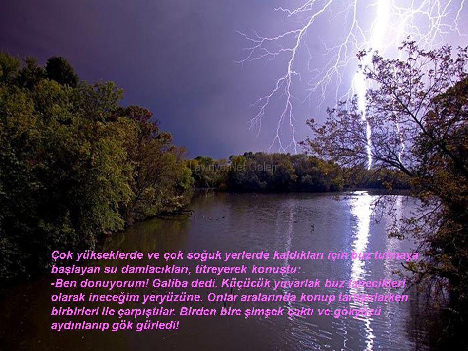 Su damlacıkları; birleşip yeryüzüne yağmur olarak yağmaya başladılar.