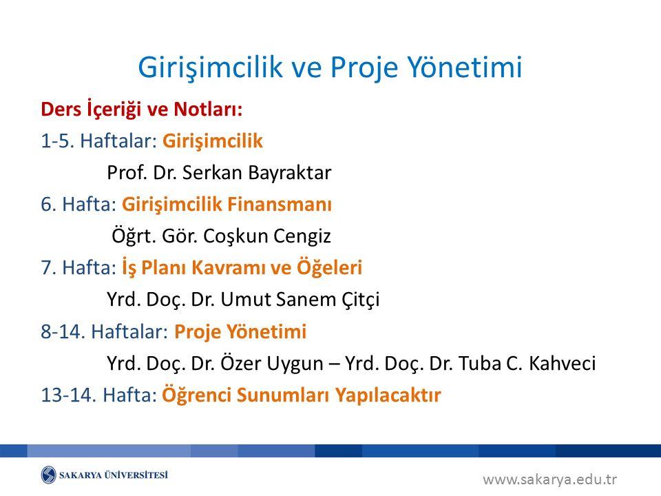 www.sakarya.edu.tr Girişimcilik ve Proje Yönetimi Ders İçeriği ve Notları: 1-5.