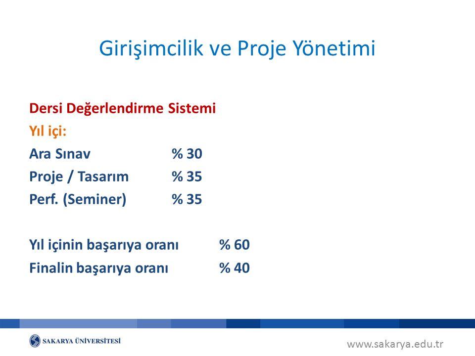 www.sakarya.edu.tr Girişimcilik ve Proje Yönetimi Dersi Değerlendirme Sistemi Yıl içi: Ara Sınav% 30 Proje / Tasarım% 35 Perf.