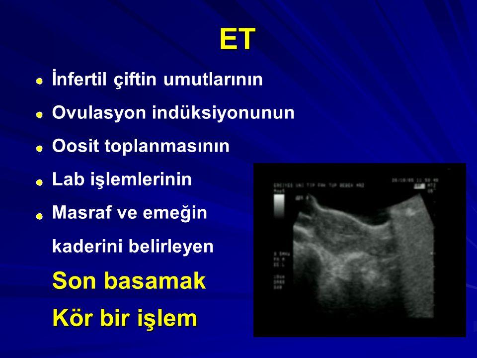 ET İnfertil çiftin umutlarının Ovulasyon indüksiyonunun Oosit toplanmasının Lab işlemlerinin Masraf ve emeğin kaderini belirleyen Son basamak Kör bir
