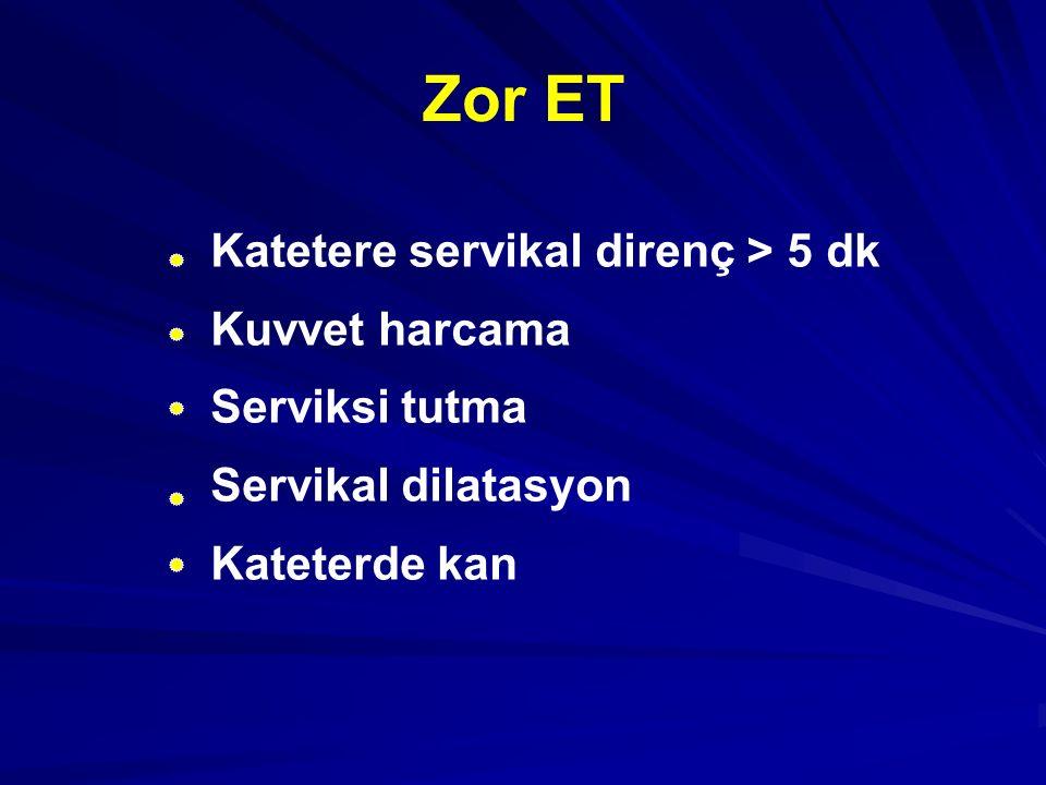 Zor ET – Sx dilatasyon Önce zor ET ve gebelik olmayan 57 hasta, Zor ET: >5 dk uğraşıp girememe, kuvvet, tenakulum, metalik guide kullanma, ET den 2 hf önce Sx D %70.2 kolay ET