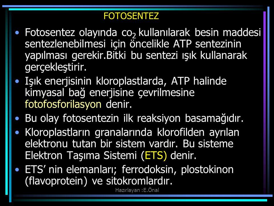 Hazırlayan :E.Önal FOTOSENTEZ Fotosentez olayında co 2 kullanılarak besin maddesi sentezlenebilmesi için öncelikle ATP sentezinin yapılması gerekir.Bi