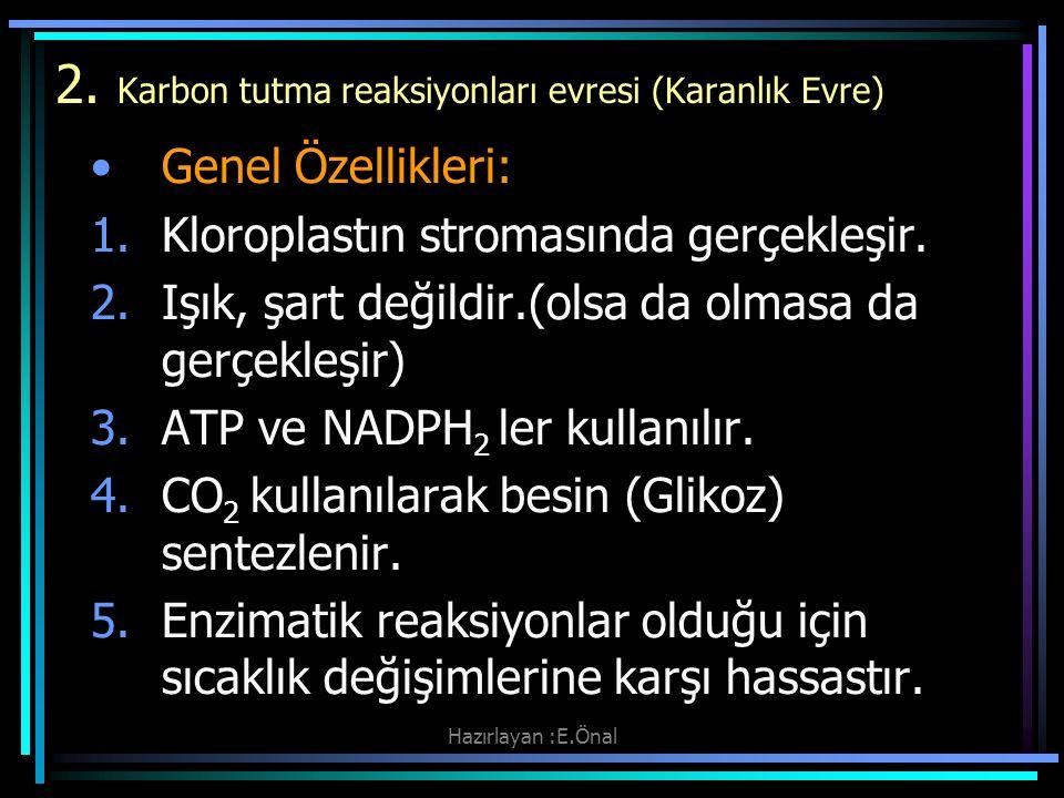 Hazırlayan :E.Önal 2. Karbon tutma reaksiyonları evresi (Karanlık Evre) Genel Özellikleri: 1.Kloroplastın stromasında gerçekleşir. 2.Işık, şart değild