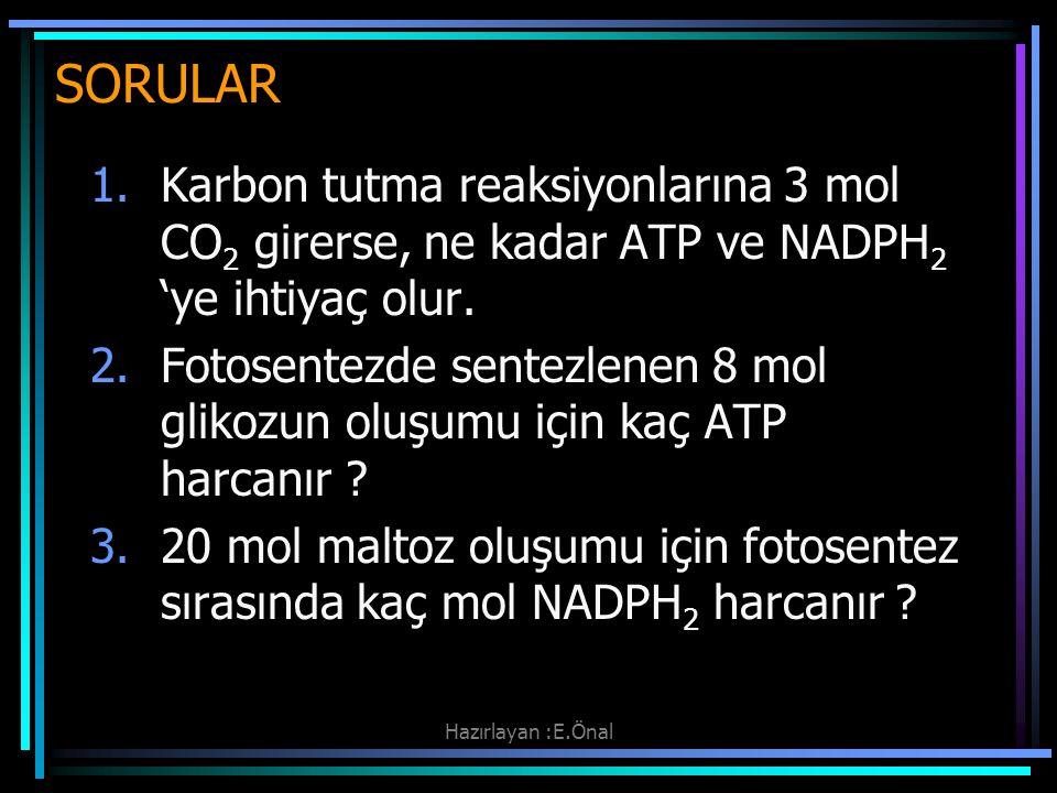 Hazırlayan :E.Önal SORULAR 1.Karbon tutma reaksiyonlarına 3 mol CO 2 girerse, ne kadar ATP ve NADPH 2 'ye ihtiyaç olur. 2.Fotosentezde sentezlenen 8 m