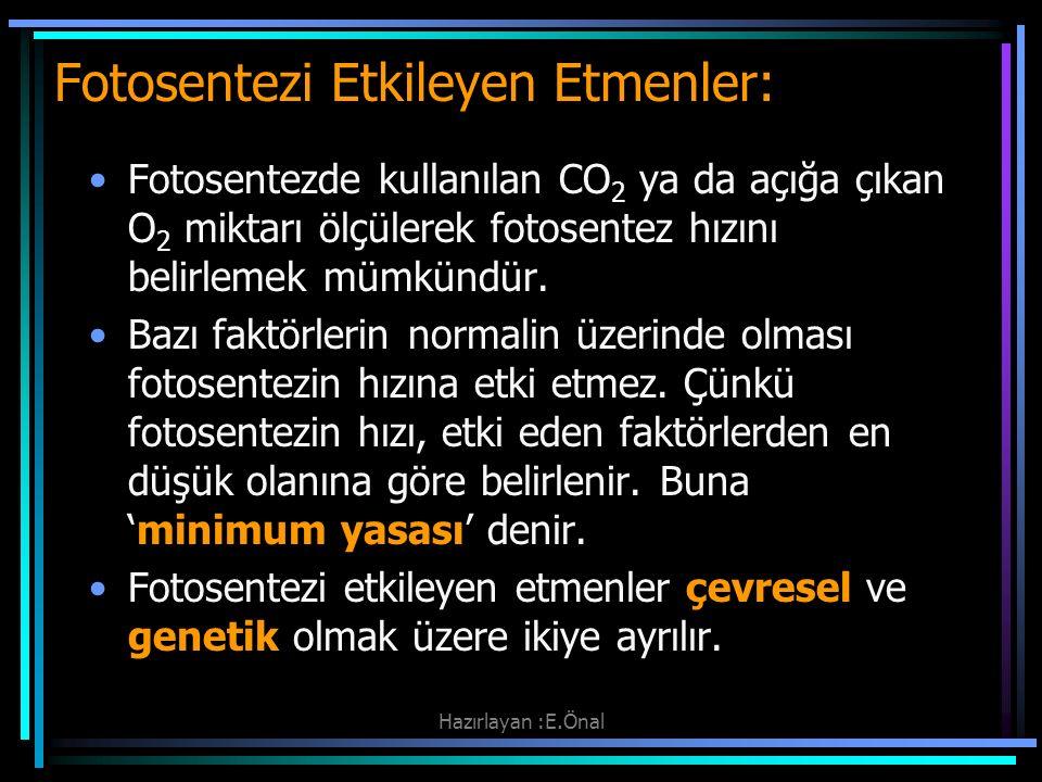 Hazırlayan :E.Önal Fotosentezi Etkileyen Etmenler: Fotosentezde kullanılan CO 2 ya da açığa çıkan O 2 miktarı ölçülerek fotosentez hızını belirlemek m