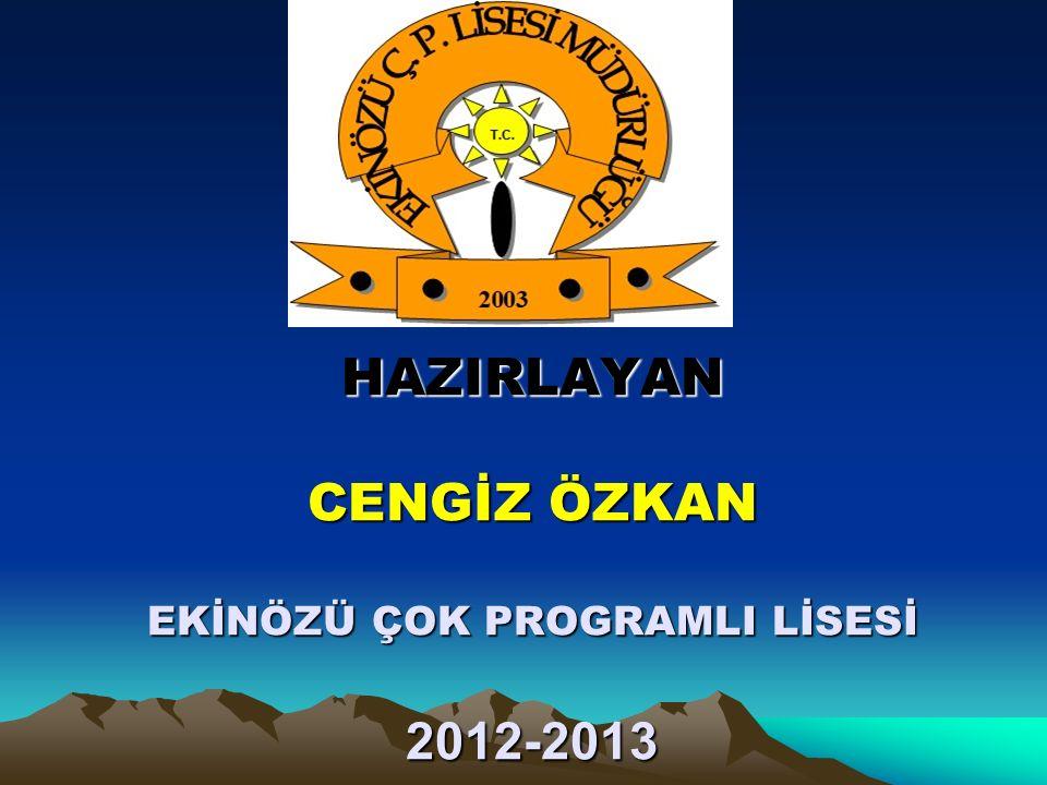 HAZIRLAYAN CENGİZ ÖZKAN EKİNÖZÜ ÇOK PROGRAMLI LİSESİ 2012-2013
