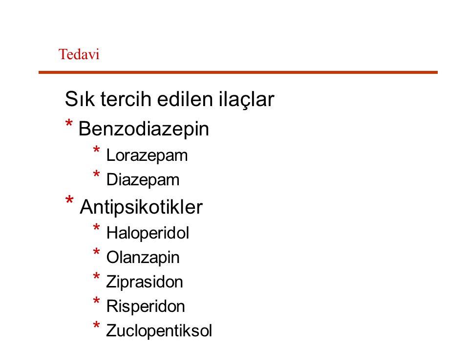 Sık tercih edilen ilaçlar * Benzodiazepin * Lorazepam * Diazepam * Antipsikotikler * Haloperidol * Olanzapin * Ziprasidon * Risperidon * Zuclopentikso