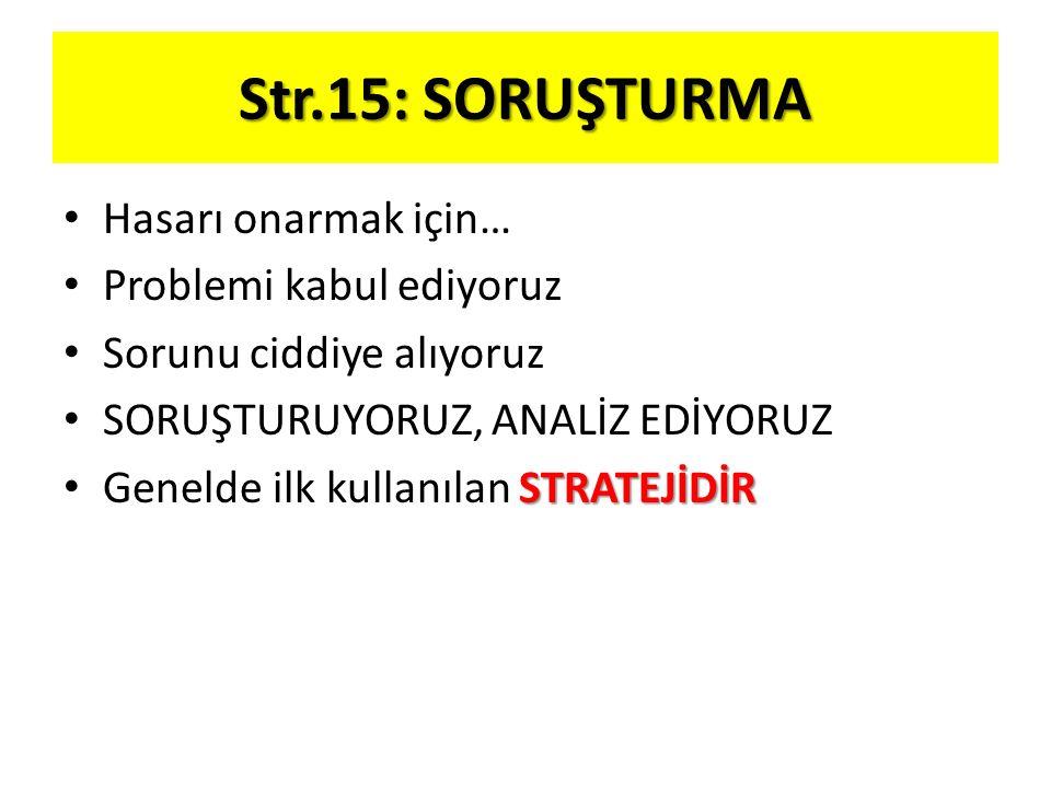 Str.15: SORUŞTURMA Hasarı onarmak için… Problemi kabul ediyoruz Sorunu ciddiye alıyoruz SORUŞTURUYORUZ, ANALİZ EDİYORUZ STRATEJİDİR Genelde ilk kullan