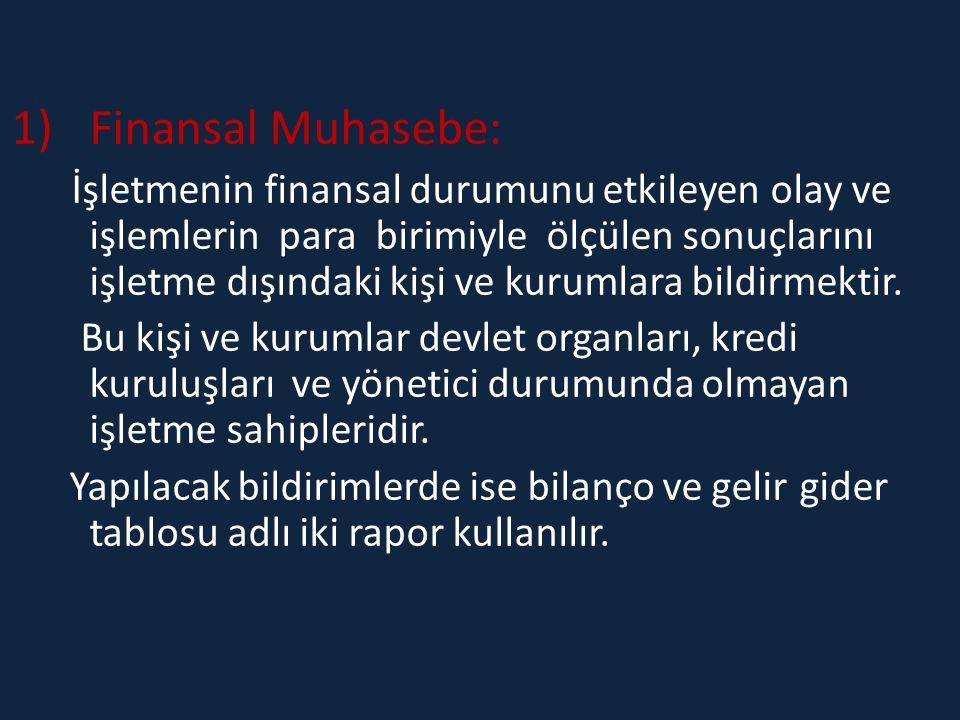 1)Finansal Muhasebe: İşletmenin finansal durumunu etkileyen olay ve işlemlerin para birimiyle ölçülen sonuçlarını işletme dışındaki kişi ve kurumlara bildirmektir.