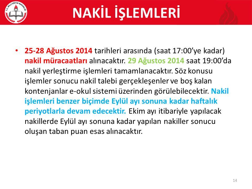 NAKİL İŞLEMLERİ 25-28 Ağustos 2014 tarihleri arasında (saat 17:00'ye kadar) nakil müracaatları alınacaktır.