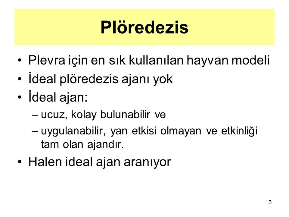 13 Plöredezis Plevra için en sık kullanılan hayvan modeli İdeal plöredezis ajanı yok İdeal ajan: –ucuz, kolay bulunabilir ve –uygulanabilir, yan etkis