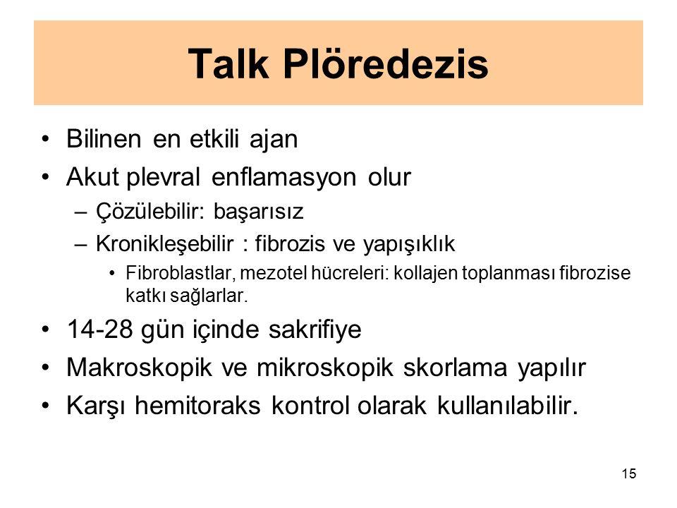 15 Talk Plöredezis Bilinen en etkili ajan Akut plevral enflamasyon olur –Çözülebilir: başarısız –Kronikleşebilir : fibrozis ve yapışıklık Fibroblastla