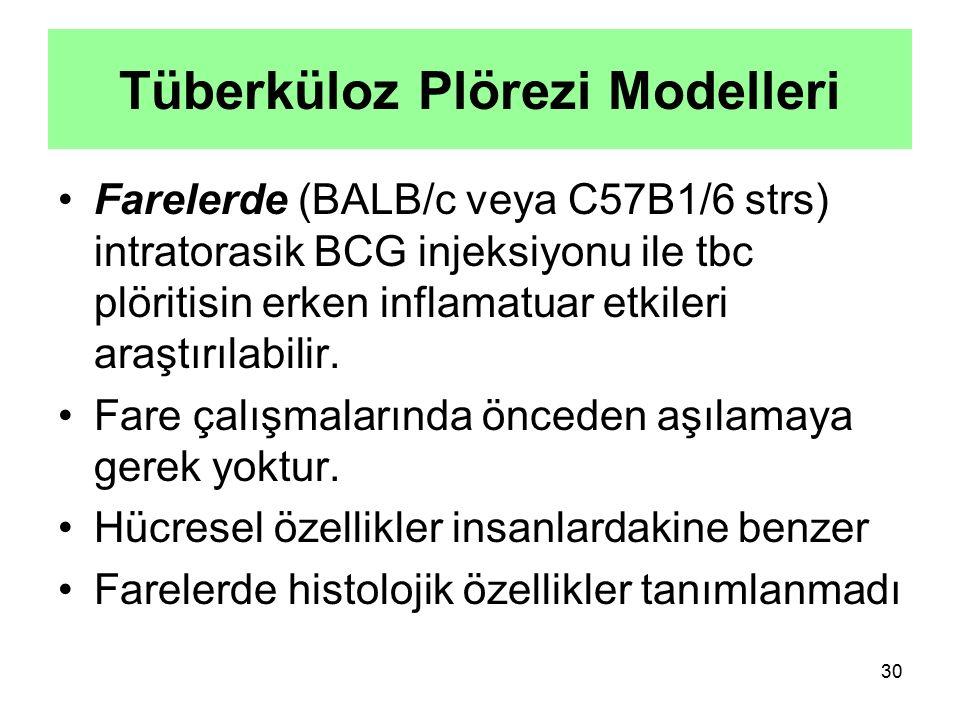 30 Farelerde (BALB/c veya C57B1/6 strs) intratorasik BCG injeksiyonu ile tbc plöritisin erken inflamatuar etkileri araştırılabilir. Fare çalışmalarınd